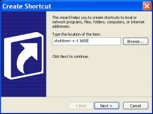 Shutdown Timer, Shortcut Method